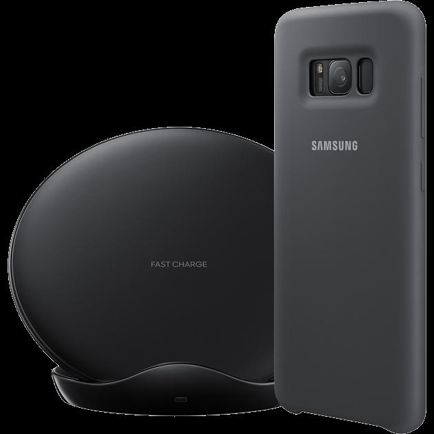 d7594fb5abc juhtmevaba laadimisalus Samsung EP-N5100 + telefonikate Samsung Silicon  Cover Galaxy S8'le